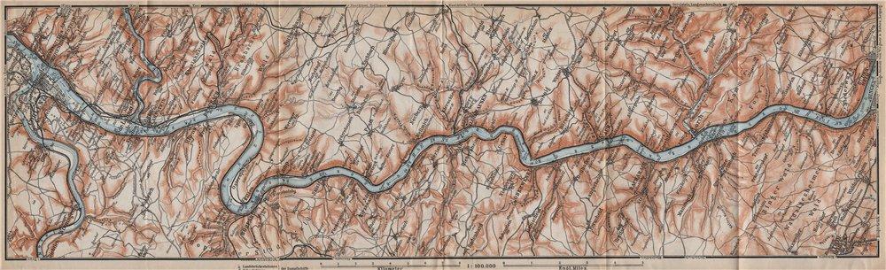 Associate Product RHINE/RHEIN. Koblenz-Lahnstein-Boppard-Salzig-St Goar-Bingen-Rüdesheim 1913 map