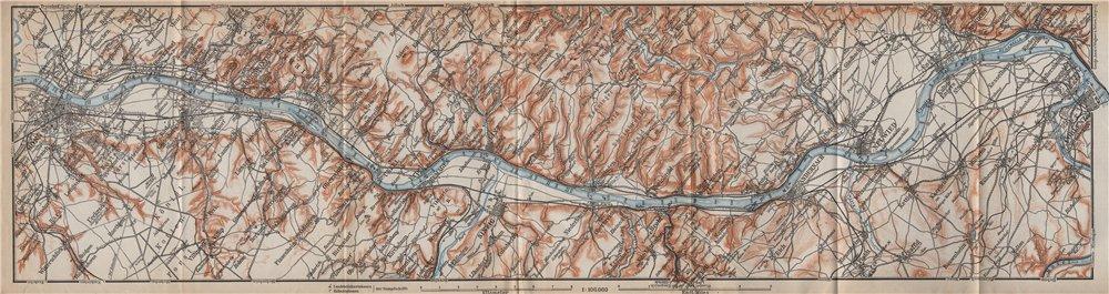 Associate Product RHEIN/RHINE. Bonn-Bad Godesberg-Remagen-Andernach-Neuwied-Koblenz 1913 old map