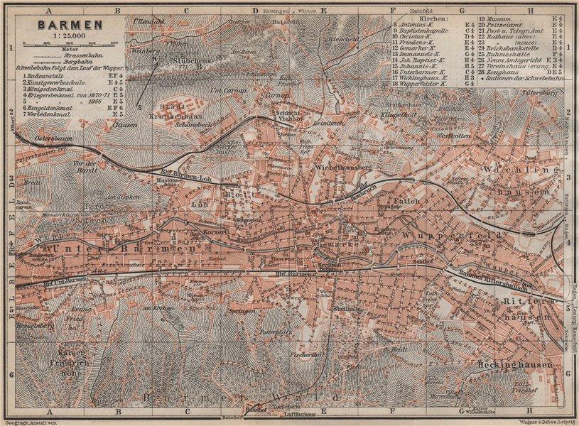 Associate Product BARMEN antique town city stadtplan. Germany karte. BAEDEKER 1913 old map