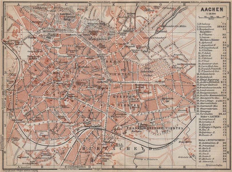 Associate Product AACHEN town city stadtplan. Northrhine-Westfalia. Aix-la-Chapelle 1913 old map