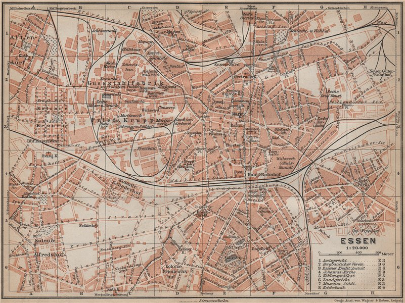 Associate Product ESSEN antique town city stadtplan. Northrhine-Westfalia karte 1913 old map