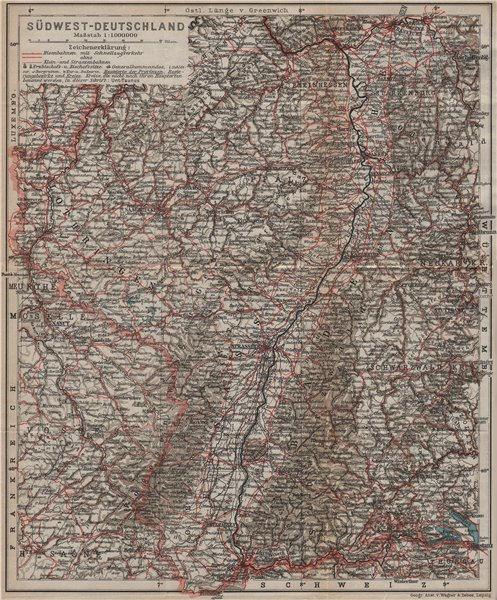 Associate Product SW GERMANY SÜDWEST-DEUTSCHLAND inc. Reichsland Elsaß-Lothringen. Baden 1913 map