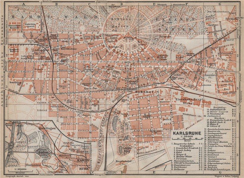 Associate Product KARLSRUHE antique town city stadtplan. Baden-Württemberg karte 1913 old map