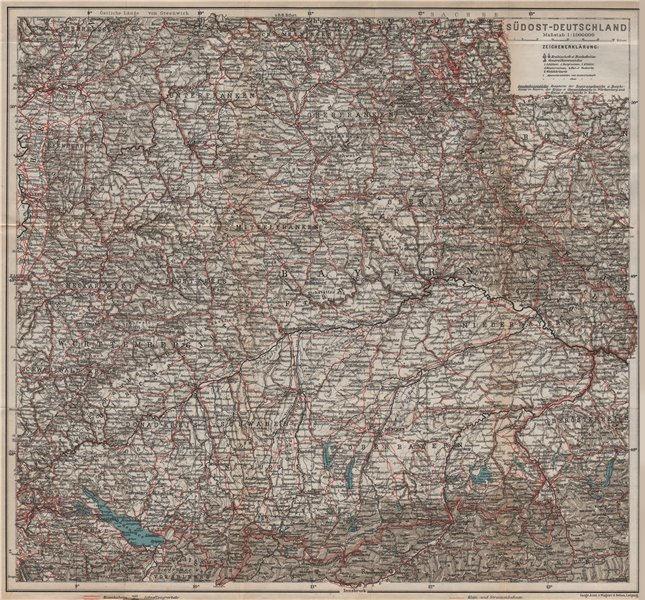 Associate Product SE GERMANY. SÜDOST-DEUTSCHLAND. Bavaria Bayern Württemberg Franken 1913 map