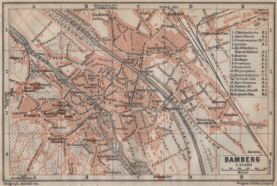 Associate Product BAMBERG antique town city stadtplan. Bavaria karte. BAEDEKER 1913 old map