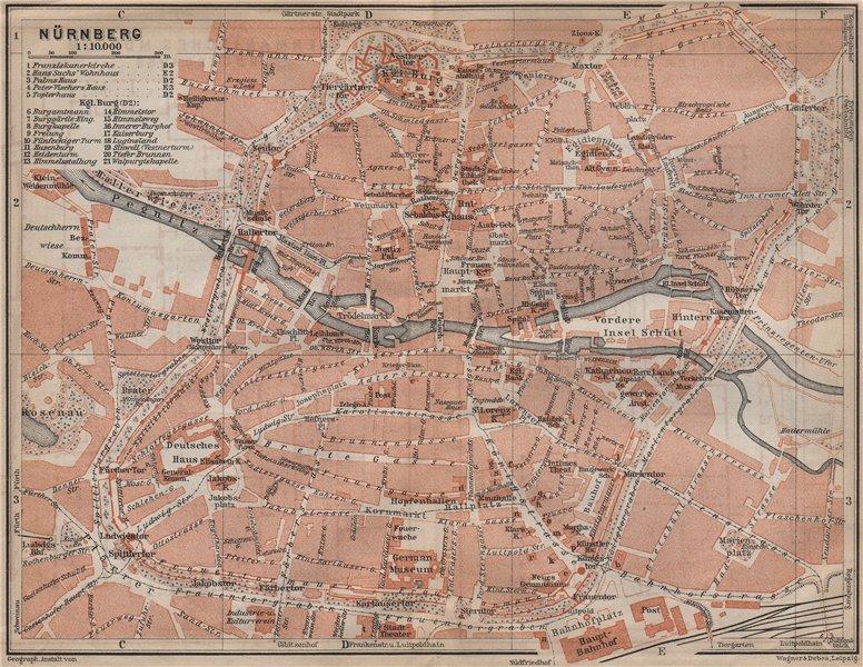 Associate Product NÜRNBERG town city centre/innere stadtplan. Nuremberg. Bavaria karte 1913 map