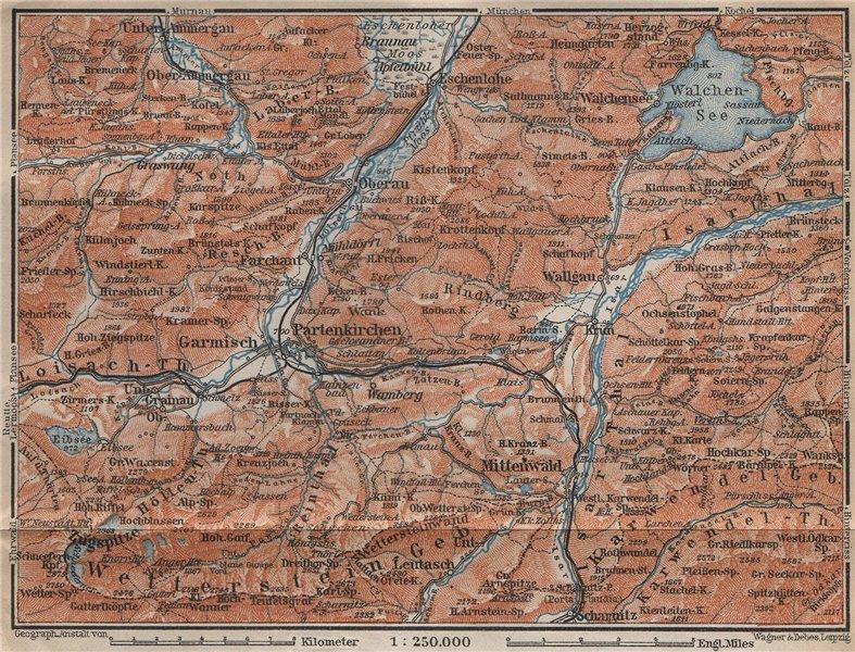 Associate Product GARMISCH-PARTENKIRCHEN umgebung. Mittenwald Walchensee Oberammergau 1913 map