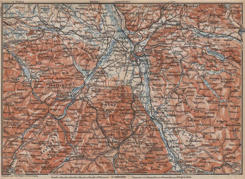 Associate Product SALZBURG environs. Berchtesgaden Faistenau Seekirchen Reichenhall 1913 old map