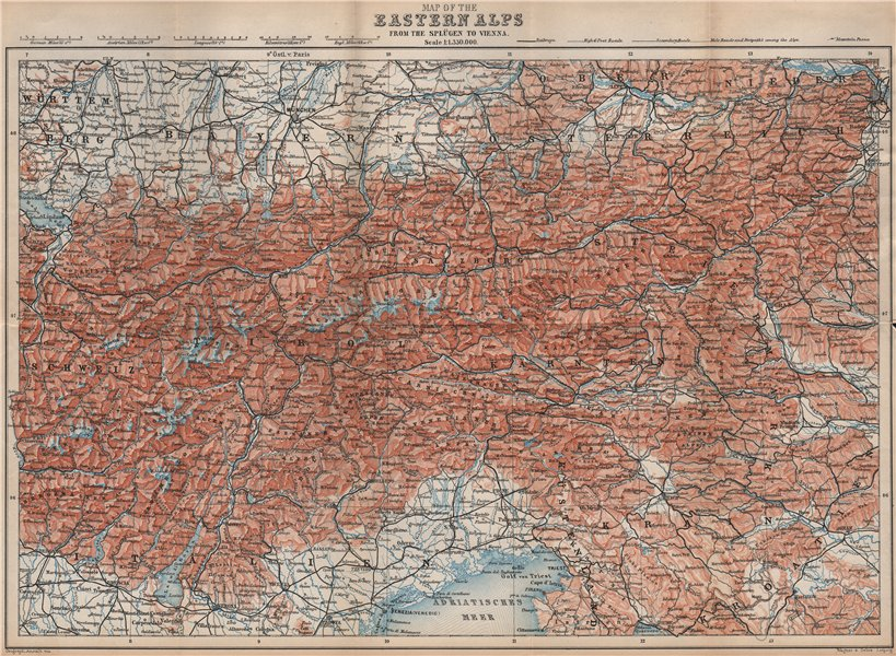 Associate Product EASTERN ALPS. South Bavaria Bayern Austria Slovenia Tirol Wien München 1899 map