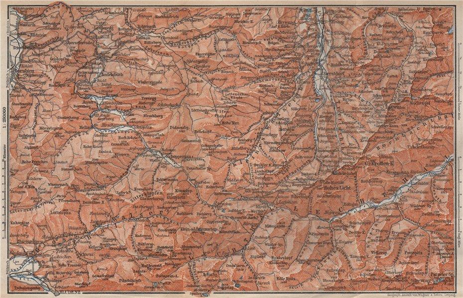 Associate Product BREGENZERWALD & ALLGÄUER ALPEN. Blundez Oberstdorf Damüls Mittelberg 1899 map