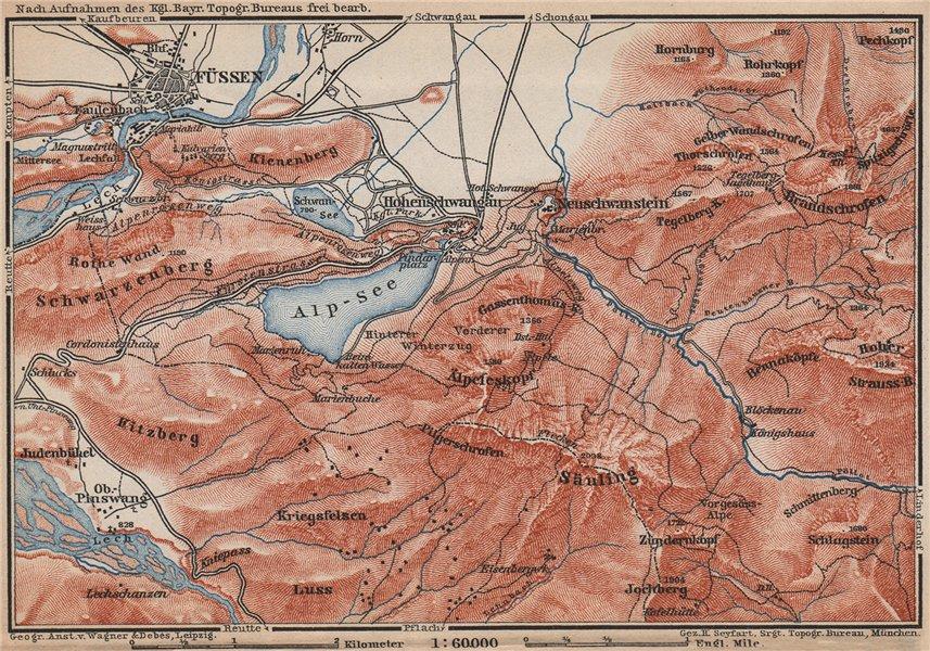 Associate Product HOHENSCHWANGAU  & FÜSSEN environs. Alpsee Deutschland Österreich karte 1899 map