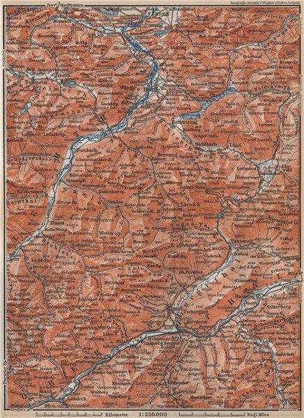 Associate Product LECHQUELLENGEBIRGE range. Reutte Imst Füssen Lechtal Oberinntal karte 1899 map