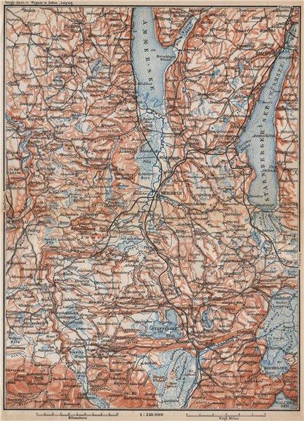 Associate Product STARNBERGERSEE & AMMERSEE. Weilheim Schongau Murnau Starnberg karte 1899 map
