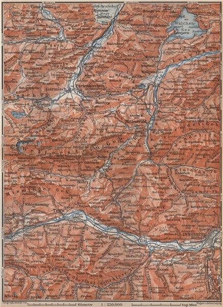 Associate Product WETTERSTEIN Garmisch-Partenkirchen Innsbruck Inntal Mittenwald Oberau 1899 map