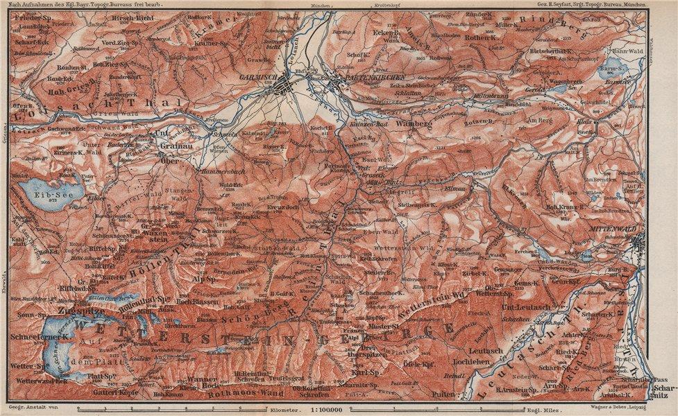 Associate Product GARMISCH-PARTENKIRCHEN environs. Mittenwald. Deutschland/Österreich 1899 map