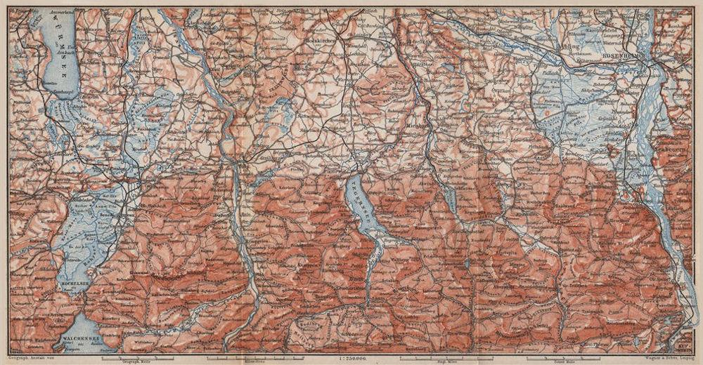 Associate Product BAYERISCHE ALPEN. Bavarian Alps. Lenggries Spitzingsee Bayrischzell 1899 map