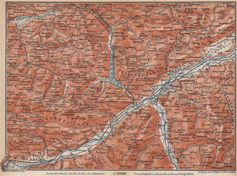 Tiroler Unterland. Unterinntal. Inn valley. Innsbruck Tyrol Jenbach 1899 map
