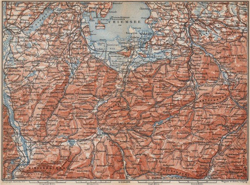 Associate Product CHIEMSEE, CHIEMGAU & environs. Kufstein Traunstein Lofer Kössen karte 1899 map