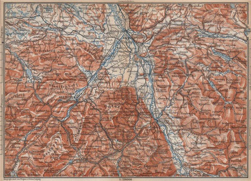 Associate Product SALZBURG environs. Berchtesgaden Faistenau Seekirchen Reichenhall 1899 old map