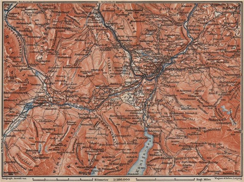 Associate Product BERCHTESGADEN environs topo-map. Hallein Bayern Berchtesgadener Land 1899