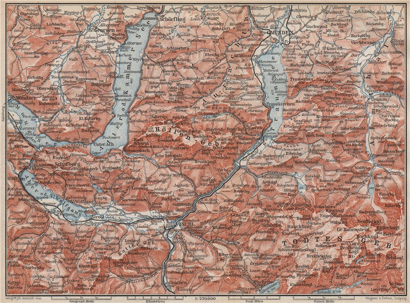 Associate Product NORTH SALZKAMMERGUT. Gmunden Ischl Hallstatt. Altmunster Ebensee karte 1899 map