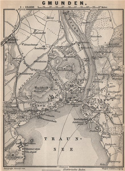 Associate Product GMUNDEN antique town city plan stadtplan. Austria Österreich karte 1899 map
