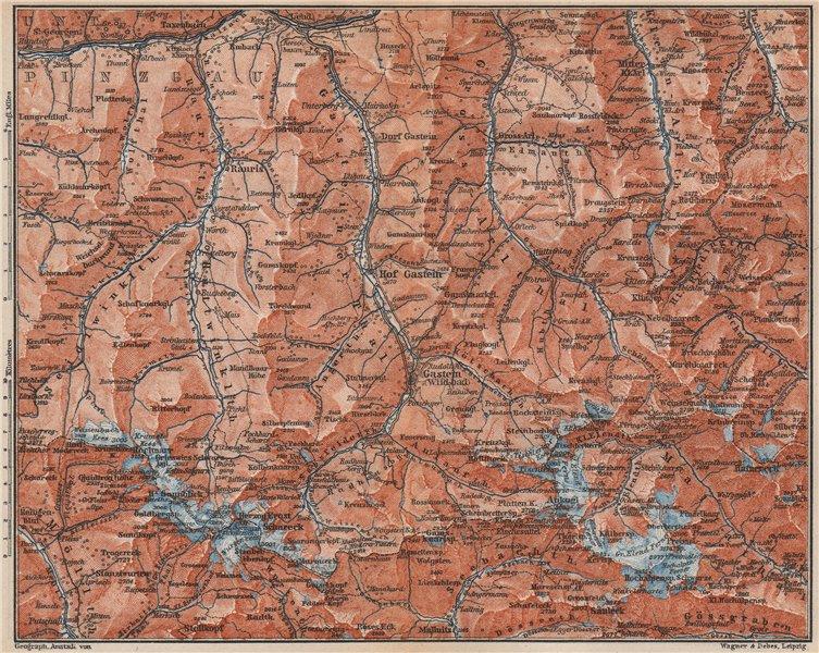 Associate Product HOHE TAUERN & GASTEINER TAL Ankogelgruppe Goldberggruppe Bad Gastein 1899 map