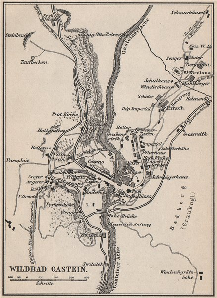 Associate Product WILDBAD/BAD GASTEIN town plan stadtplan. Austria Österreich. SMALL 1899 map