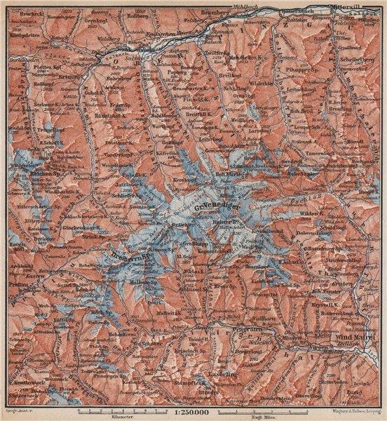 Associate Product VENEDIGERGRUPPE. OBERPINZGAU. HOHE TAUERN. Mittersill Prägraten  karte 1899 map