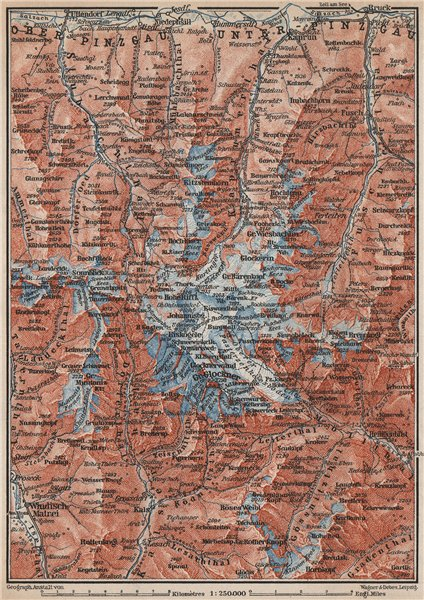 Associate Product GLOCKNERGRUPPE. HOHE TAUERN. UNTERPINZGAU. Kaprun Matrei Grossdorf 1899 map