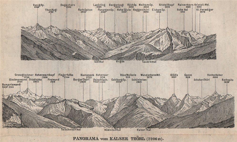 Associate Product KALSER THÖRL Panorama. Grossglockner. Kals-Matrei. Hohen Tauern. SMALL 1899 map