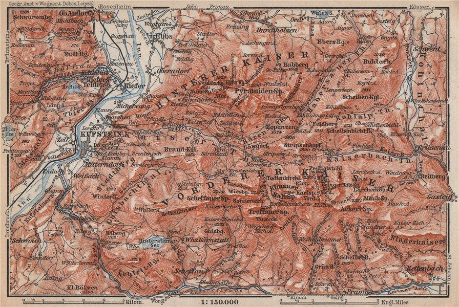 Associate Product KUFSTEIN environs. Kaisergebirge. Zahmer/Wilder Kaiser Tirol Tyrol 1899 map