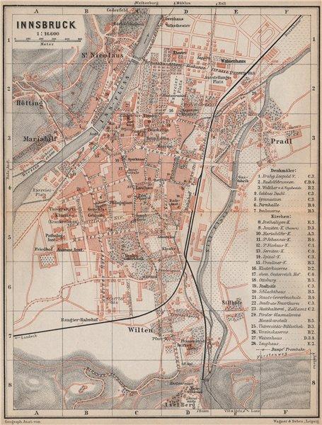 Associate Product INNSBRUCK antique town city plan stadtplan. Austria Österreich karte 1899 map