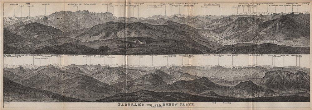 Associate Product PANORAMA from/vom HOHEN SALVE. Kitzbühler Alpen Tirol Österreich karte 1899 map