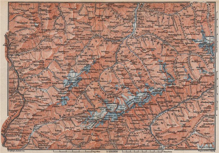 Associate Product ZILLERTALER ALPEN ALPS. Mayrhofen Matrei Steinach. Tyrol/Südtirol 1899 old map