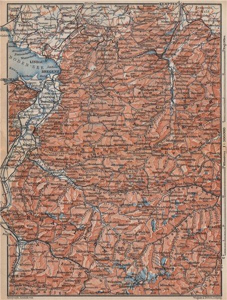 Associate Product VORARLBERG & BREGENZER WALD. Bludenz St Anton Zürs Lech See Ischgl 1899 map