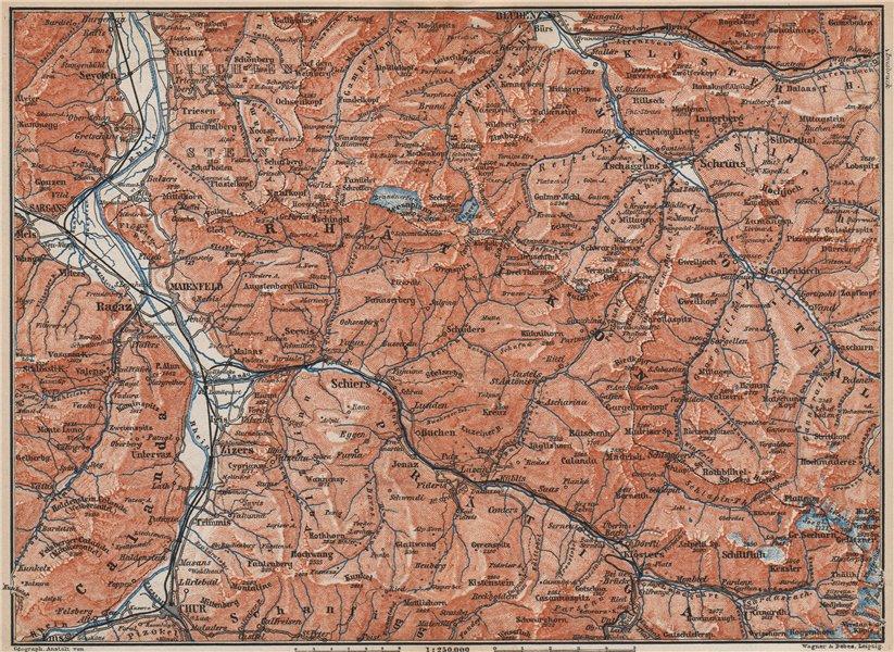 Associate Product RÄTIKON. Bad Ragaz Montafon Prättigau Klosters Blundenz Schruns Chur 1899 map