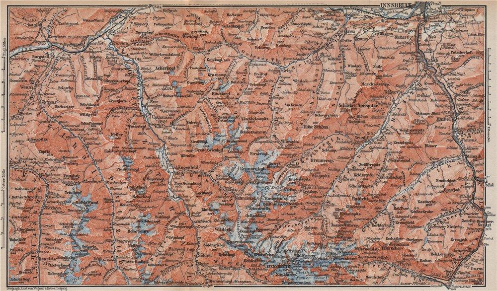 Associate Product STUBAIER ALPEN. Stubaital Ötztal Pitztal. Solden Kühtai Innsbruck  1899 map