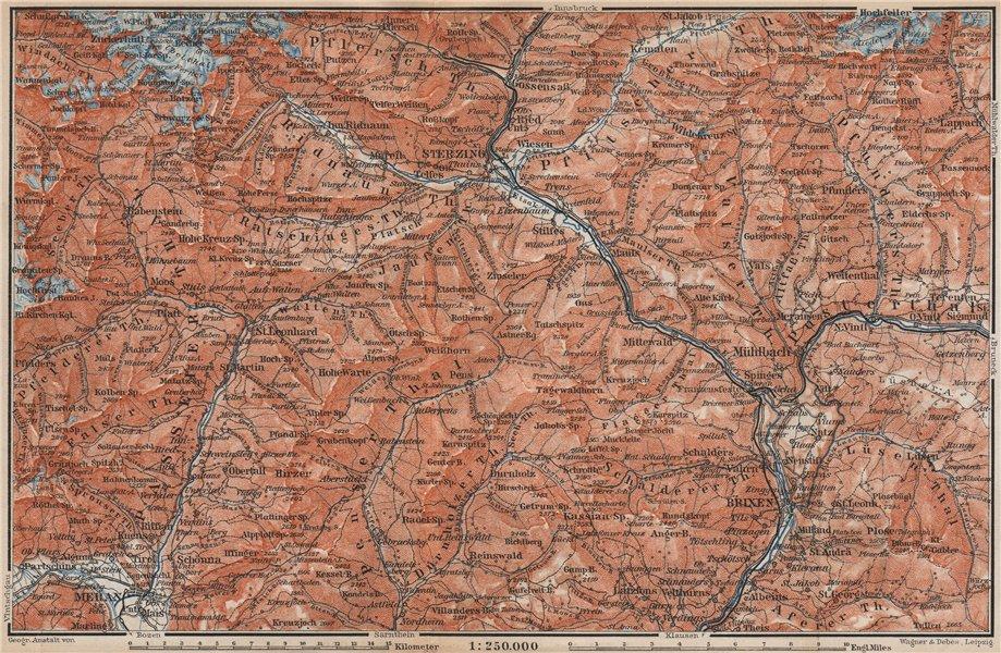 Associate Product STERZING & BRIXEN environs Wipptal Vipiteno Bressanone Merano Südtirol 1899 map