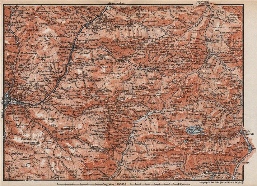 Associate Product VAL GARDENA/GRÖDEN. Bozen/Bolzano Schlern-Rosengarten Südtirol Klausen 1899 map