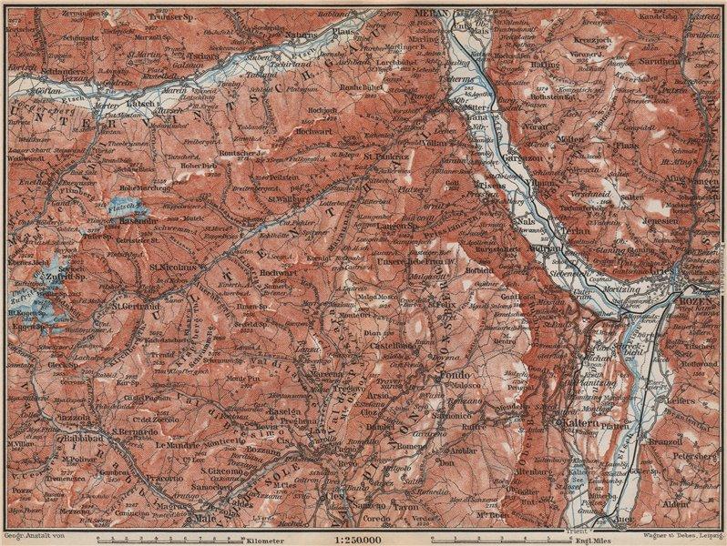 Associate Product VINTSCHGAU ADIGE/ETSCH Ultental valleys. Bozen/Bolzano Merano Südtirol 1899 map