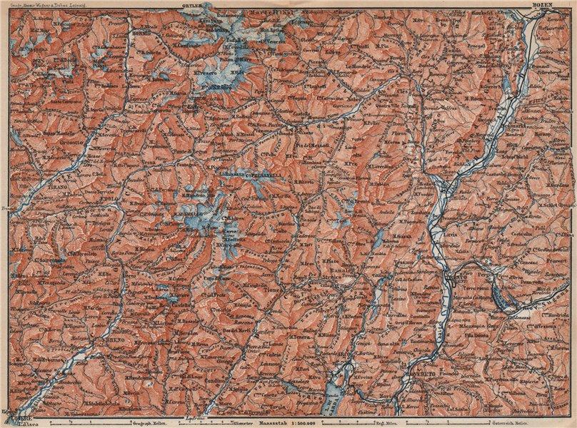 Associate Product TRENTINO-ALTO ADIGE. Bolzano Bormio S. Caterina Aprica Campiglio mappa 1899