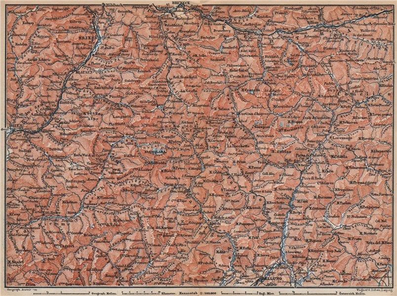 Associate Product DOLOMITE ALPS DOLOMITI Brixen Bressanone Kronplatz Val Gardena Cortina 1899 map