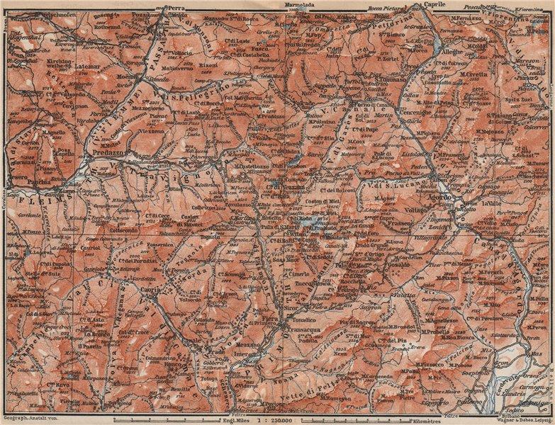 Associate Product DOLOMITI. Primiero Paneveggio. San Pellegrino San Martin di Castrozza 1899 map