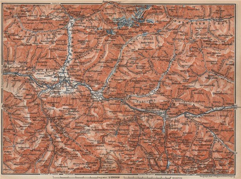 Associate Product PUSTERTAL Bruneck Fanes-Sennes-Braies Tre Cime Rieserferner-Ahrn Sesto 1899 map