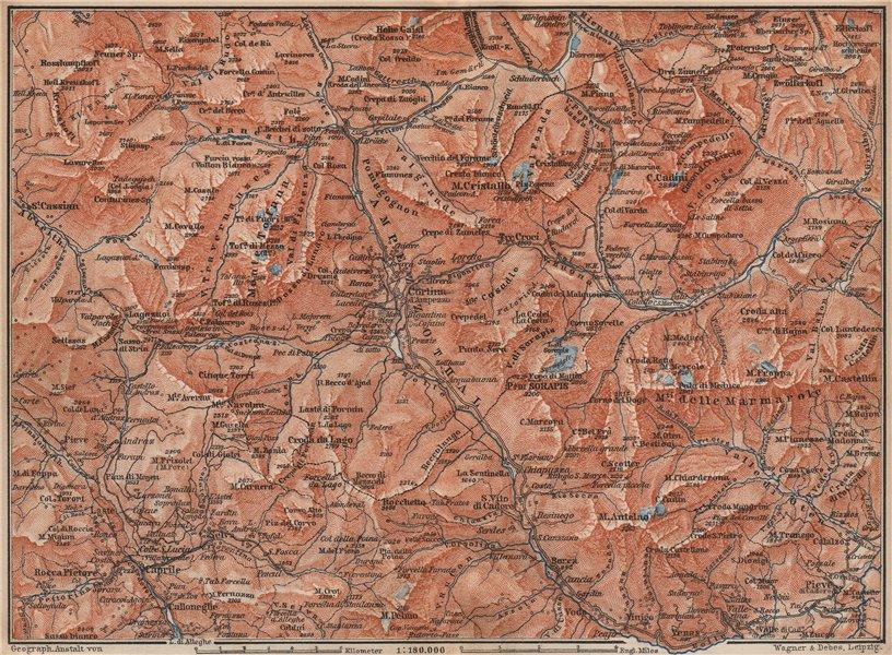 Associate Product CORTINA D'AMPEZZO valley. Dolomiti Veneto Tre Cime Fanes-Sennes-Braies 1899 map