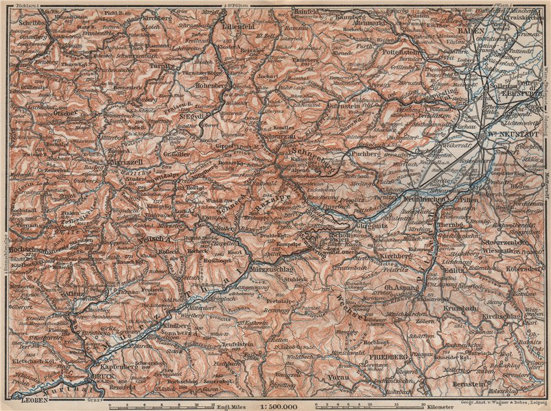 Associate Product SEMMERING & MARIAZELL environs. Mürztal Styria Baden bei Wien Austria 1899 map