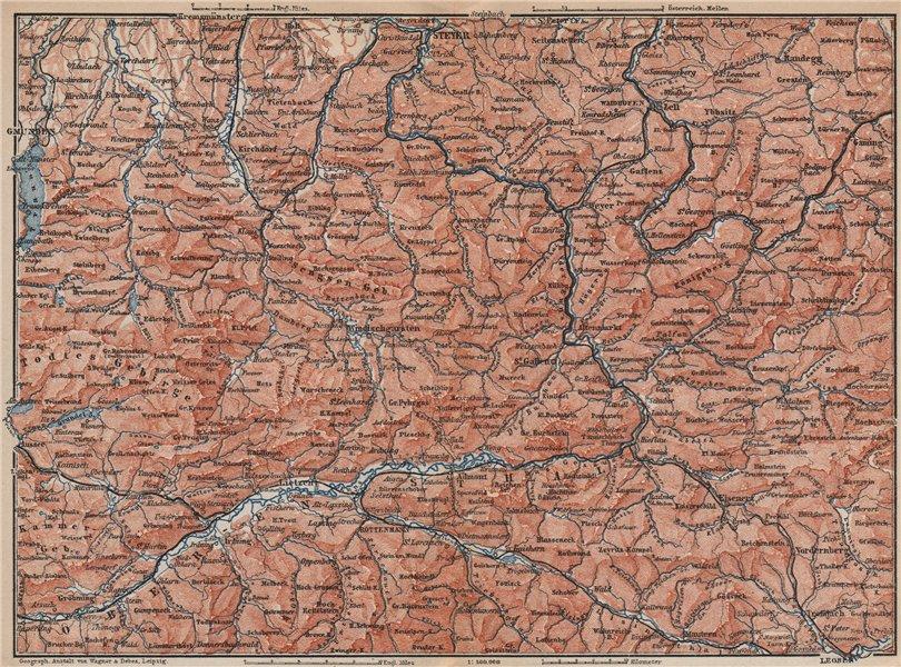 Associate Product STYRIAN & AUSTRIAN ALPS. ENNSTAL. Bad Aussee Liezen Steyr. Austria 1899 map