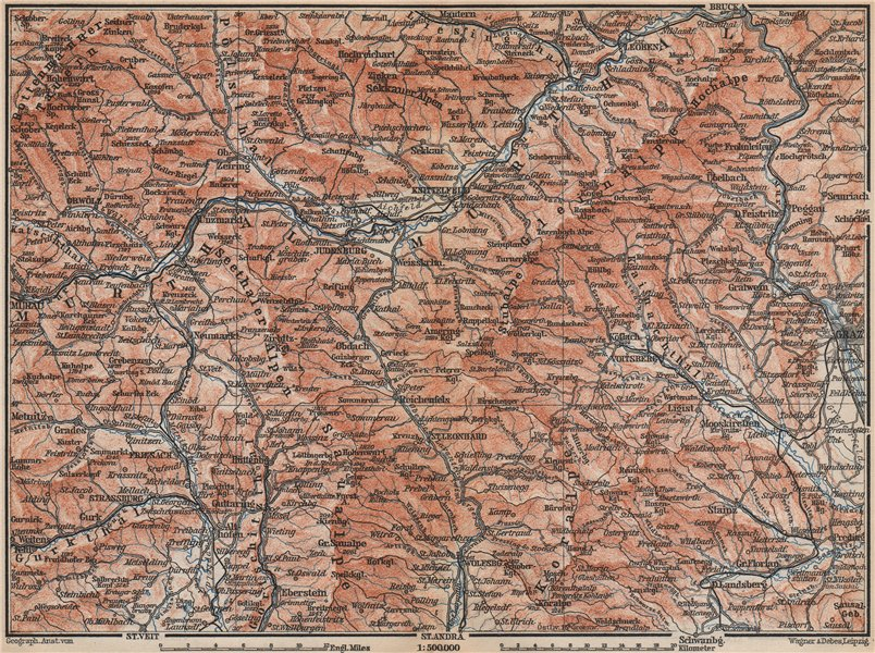Associate Product STYRIAN & CARINTHIAN ALPS. Murau Graz Murtal Leoben Wolfsburg. Austria 1899 map