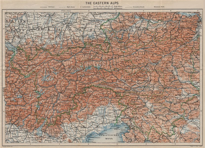 Associate Product EASTERN ALPS. South Bavaria Bayern Austria Slovenia Tirol Wien München 1911 map